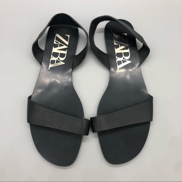 Zara black slingback single strap sandals